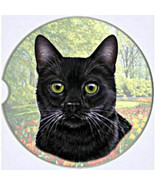BLACK Cat Absorbent Car Coaster Stoneware Auto drink Cup Holder - $8.99