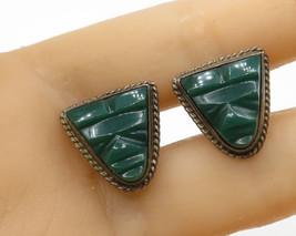 MEXICO 925 Sterling Silver -  Vintage Green Carnelian Tribal Cuff Links ... - $27.86