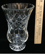 "Crystal Vase Pedestal Base Glass Cut Ornate Design 6"" Tall Floral Flower - $14.84"