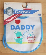 2 VTG 1989 Gerber Terry Dribbler I Love Daddy Bear Tie On Vinyl Bibs USA Made - $17.95