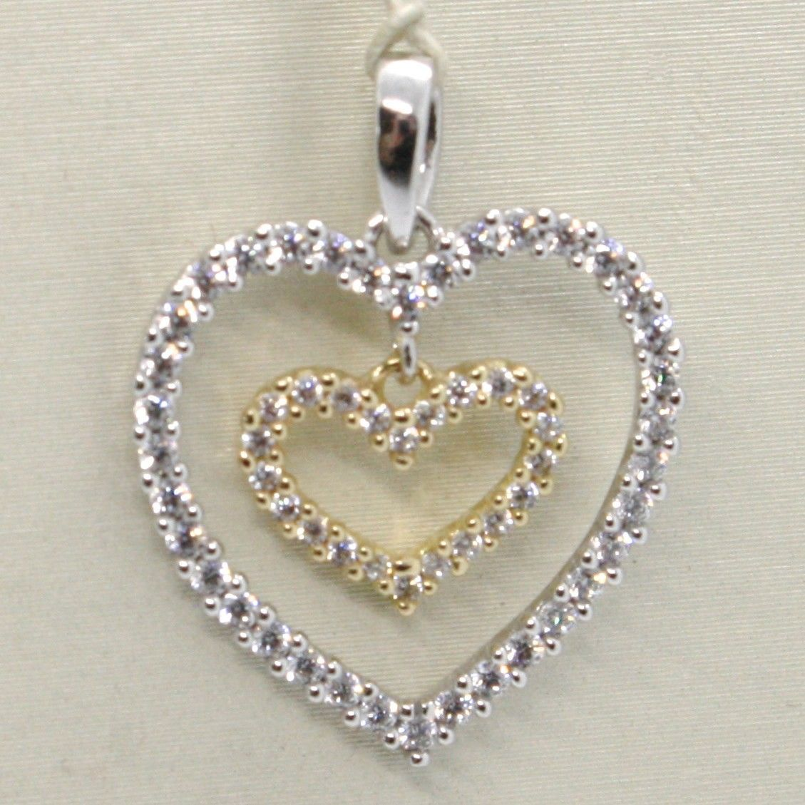 18K YELLOW AND WHITE GOLD HEART DOUBLE PENDANT CHARM WITH CUBIC ZIRCONIA