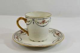 Limoges Demitasse Teacup Saucer B & C Co. France Rose Garland Bone China... - $26.91