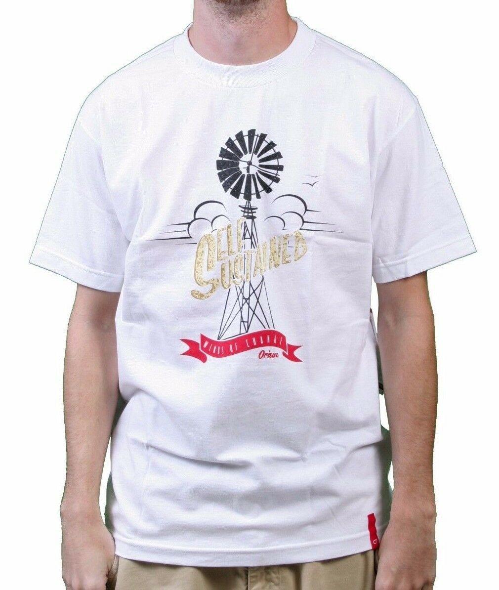 Orisue Hommes Blanc Auto Soutenue Winds De Changer Windmill T-Shirt Nwt