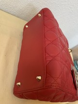 AUTH Christian Dior Lady Dior Medium RED Cannage Lambskin Tote Bag GHW image 5