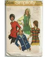 Simplicity Sewing Pattern 9816 Misses Vest Cardigans Size 18 VTG 70s UNCUT  - $17.41