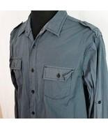 No Retreat Black Label Mens XL 17 18 Dark Blue Black Striped Shirt 2 Pocket - $20.00