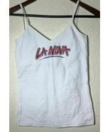 "AMERICAN APPAREL WOMEN S WHITE ""LA NOVA"" PRINTED SPAGHETTI STRAP TANK TOP - $13.12"