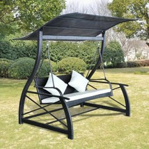 vidaXL Outdoor Swing Bench Poly Rattan Wicker Black Hammock Chair Seat L... - $343.99