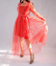 Red Long Tutu Dress Gowns Long Sleeve Vintage Inspired Pink Plaid Pattern image 5