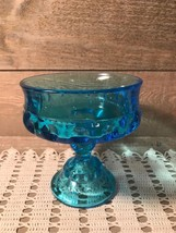 Indiana Glass Blue Kings Crown Thumb Print Compote Candy Pedestal Dish - $35.51