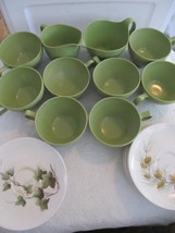 Vintage Oneida Premier Melamine Green Cups Creamers Grape & Acorn Saucer Plates - $24.14