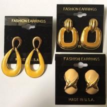 Vintage Enamel Dangle Earrings Lot Pierced 1980s 1990s NOS Yellow Gold Tone - $19.75