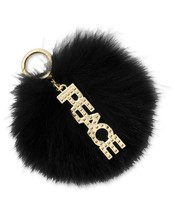 Michael Kors Peace Fox Fur Pom Pom Bag Charm Key Fob Gift Box ~NWT ~ Black - $47.40
