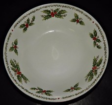 Centurion Collection  Porcelain Holly Holiday Serving Bowl White Red Green  - $24.74