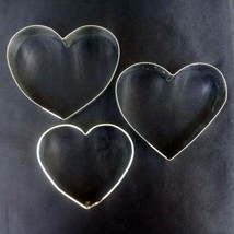 """Cookie Cutters Lot of 3 Metal Hearts 3-1/2"""" to  4-1/2"""" Foose Valentine W... - $7.99"""