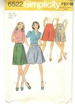 Vogue 6522 Miss Skirts 1970s Sewing Pattern Size 14 - $14.84