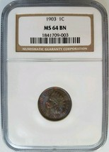 1903 Indian Head Cent NGC MS 64 BN Penny Toner Toning Toned Coin End Rol... - $209.99