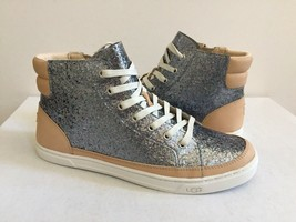 UGG GRADIE GLITTER GUNMETAL ANKLE SNEAKERS LEATHER SHOE US 5.5 / EU 36.5... - $98.18