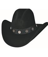 Bullhide Shotgun Premium Wool Cowboy Hat Gus Crown Shotgun Conchos Black... - $65.00