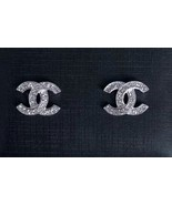 AUTHENTIC CHANEL 2017 Crystal CC Logo Stud Silver Earrings Classic - $419.99