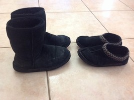 2pr Womens Uggs Sz 7 Black Short Boots & Tasman Slip On Shoe Clogs Used L@@K - $49.50