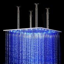 Cascada 20 Inch Luxury Large Square LED Rain Bathroom Showerheads Brushed Stainl - $366.25