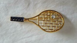 "2""VINTAGE Faux Diamond Tennis Racket Brooch Pin, Gold Tone, Unsigned, Rhinestone - $4.94"