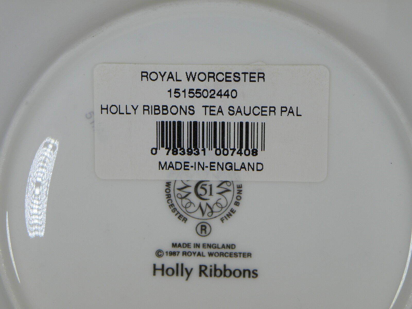 Royal Worcester Holly Ribbons Saucer Only NEW (MADE IN ENGLAND)