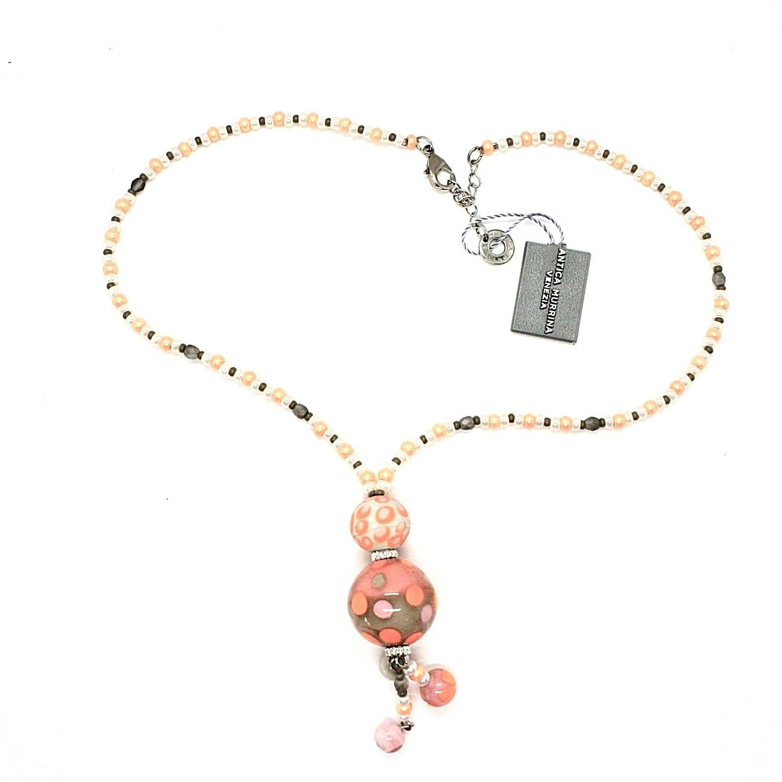 NECKLACE ANTICA MURRINA VENEZIA WITH MURANO GLASS ORANGE AND BEIGE CO964A25