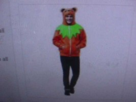 New Rasta Imposta Men's Adult Grateful Dead Bear Hoodie Costume Orange S/M - $29.21