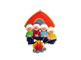 FAMILY OF 4 CAMPING GIRLS BOYS GRANDKIDS CHRISTMAS TREE ORNAMENT GIFT PR... - $11.73