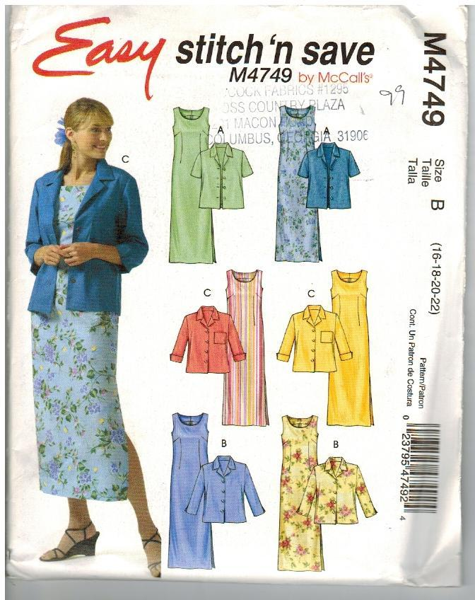 McCalls Easy Stitch 'n Save Uncut Pattern #M4749 Jacket Dress Size B 16 18 20 22