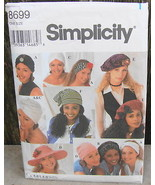 Simplicity 8699  Hats Stocking Beret Beanie Hairband Turban Floppy Cap P... - $15.00