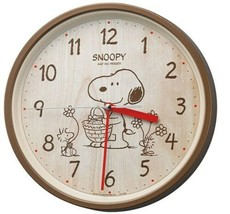 RHYTHM Peanuts Snoopy Wall Clock Analog Brown M06 8MGA40-M06 New Japan - $75.17