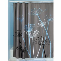 "InterDesign Bathroom Shower Curtain Thistle Gray/Blue Modern Decor 72"" 3... - $16.62"