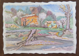 Painting Vintage Signed Watercolour On Basket landscape Countryside Mode... - $36.30
