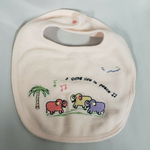 Carters John Lennon Pink Baby Girl Bib Living Life in Peace Elephant - $16.82