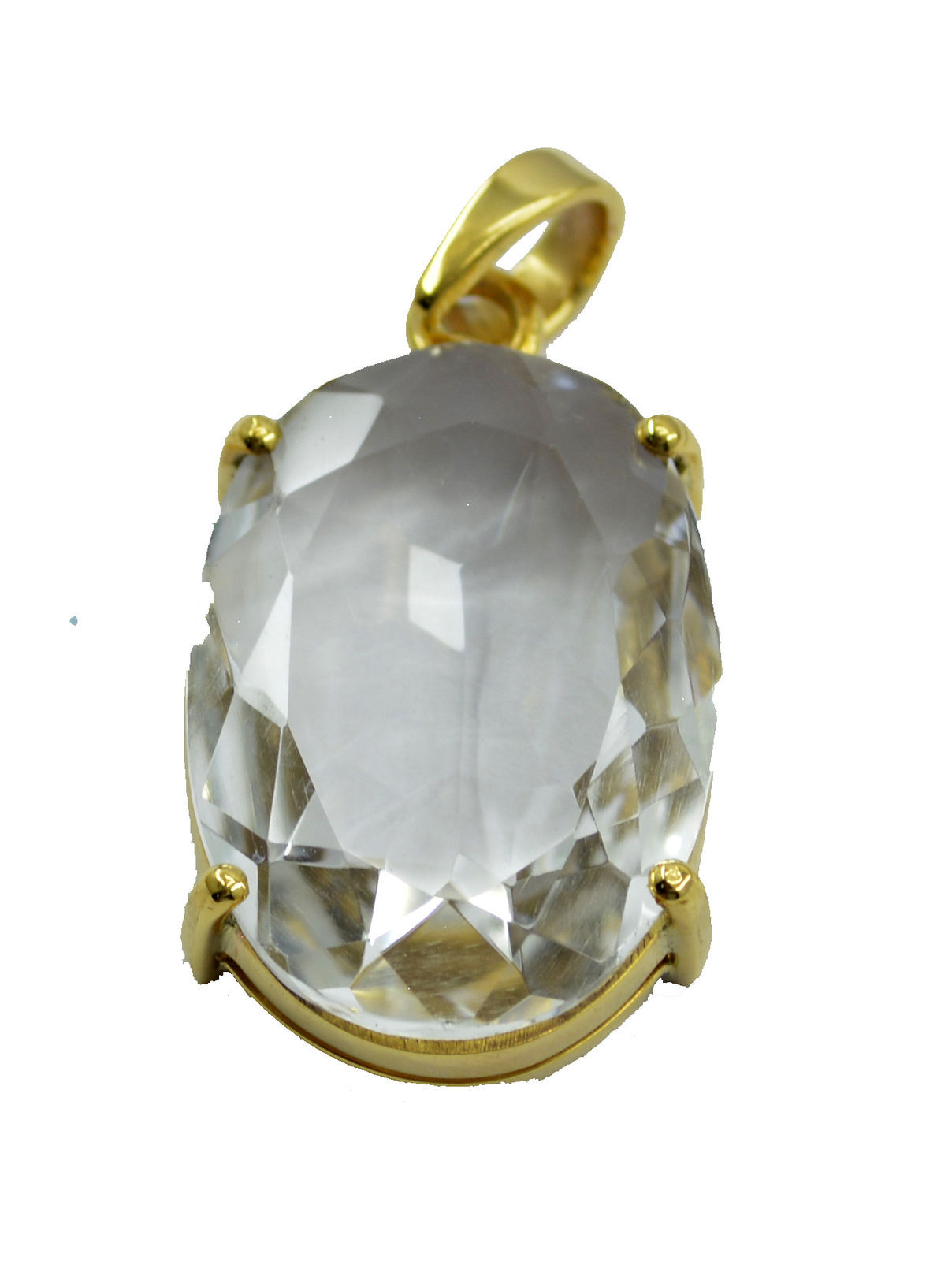 ideal Crystal Quartz Gold Plated White Pendant Glass indian US
