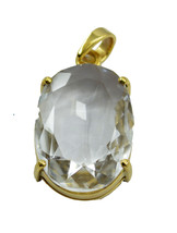 ideal Crystal Quartz Gold Plated White Pendant Glass indian US - $15.83