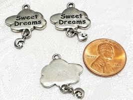 SWEET DREAMS CLOUD WITH DANGLE MOON & STAR FINE PEWTER PENDANT CHARM - 19x21x2mm image 3