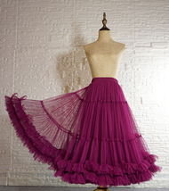 Blush Pink Layered Midi Tulle Skirt Outfit Ballerina Skirt A-Line Puffy Tutus image 8