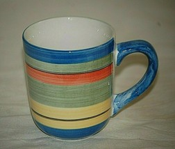 Salsa Stripe by Gibson Designs Coffee Mug Tea Cup Multicolor Bands Discontinued - $16.82