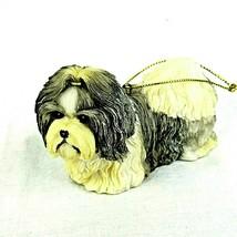 """Shih Tzu Dog Ornament  Christmas Year Around Resin Gray White 2.5"""" - $12.82"""