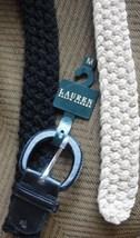 Ralph Lauren Women's Belt Black, Beige L, M & S Solid Wide Cotton Blend New - $49.50