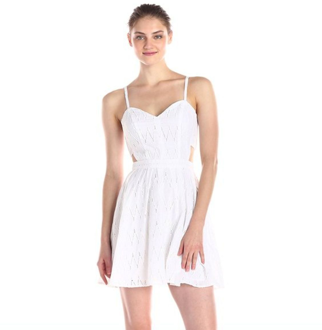 Sam Edelman White Eyelet Dress Womens sz 4 Fit & Flare Side Cutouts Summer small