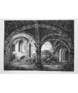 1797 ORIGINAL ETCHING Print by Howitt - Church Ruins Interior - $14.90