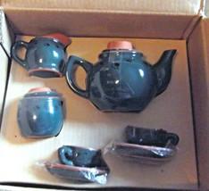 "Boyds Bear ""Miniature Porcelain Tea Set"" 9 pcs Set Terra Cotta Green - $9.49"