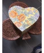 6 Inch VINTAGE BEAUTIFUL HEART SHAPE PAPER BOX Sturdy - $14.34