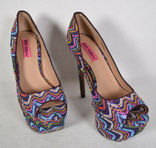 Betsey Johnson Barrdot Platform Pumps Peep Toe Textured Womens 8.5 - $39.60