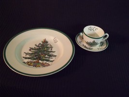 "Spode Christmas Tree 10 5/8"" Dinner Plate, Cup & Saucer S3324-Y NOS - $29.70"
